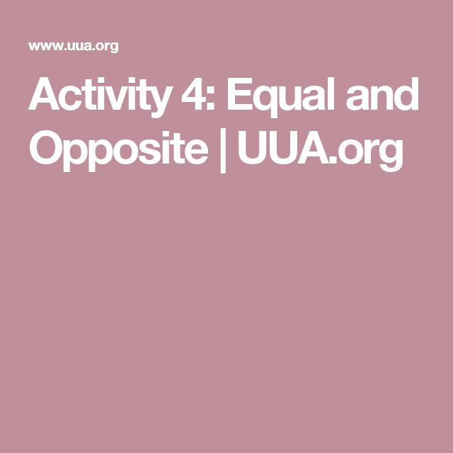 Activity 4: Equal and Opposite | UUA.org