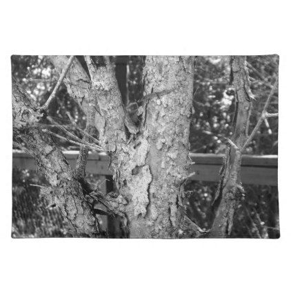 Black and White Tree Nature Photo Placemat -nature diy customize sprecial design