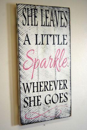 She Leaves A Little Sparkle Wherever She Goes Pallet Sign Shabby Chic Nursery Decor Girls Room Sign Baby Shower Gift Teenager Gift on Etsy, $50.00 Home Decor, DIY Home Decor #diy #decor #homedecdor