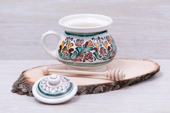 Honey Pot Sugar jar bowl Traditional Korond by CeramicArtOne
