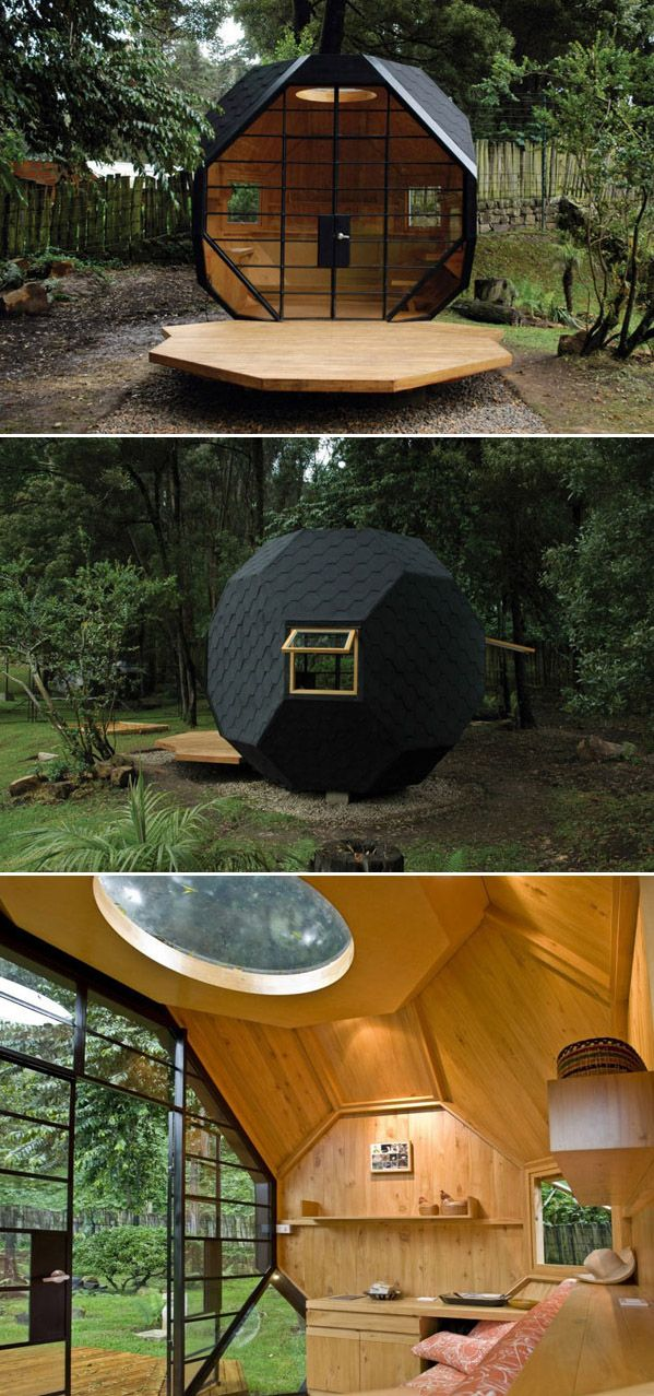 Habitable Polyhedron, a small geometric pod. Designed by Colombian architects Manuel Villa and Alberto González Sepúlveda.