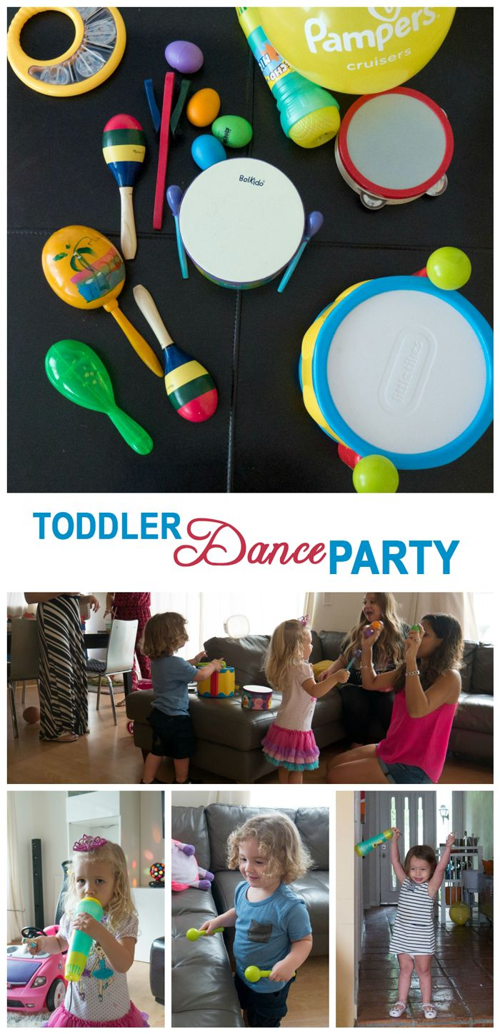 Toddler Dance Party Plan with instruments and super cute kids dancing