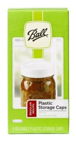 Ball Mouth Plastic Storage Caps.  These are one-piece plastic caps for glass canning jars.  For storing, not for canning.