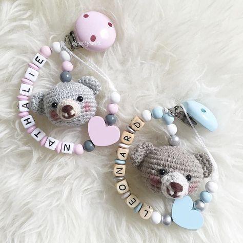 Babyrosa und babyblau Bärchen freuen sich auf Leonard und Nathalie…