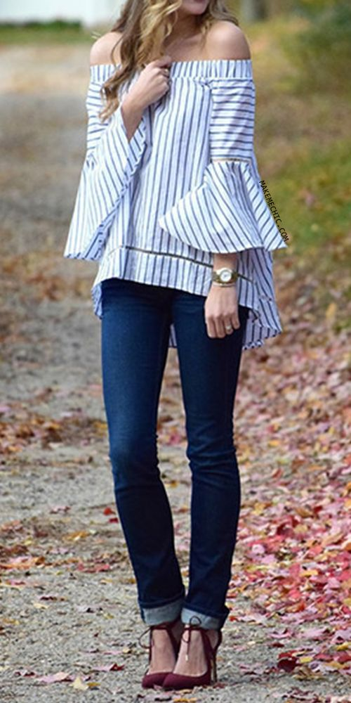 Multicolor Striped Off The Shoulder Bell Sleeve Blouse