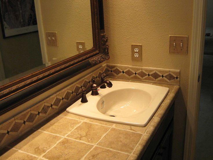 Tile backsplash vanity pinterest