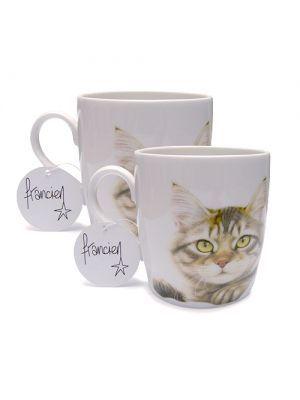 Set van 2 mokken GINGER CAT & KITTEN van Francien van Westering. Verkrijgbaar in de webshop https://www.francienskattenshop.com/servies.htm
