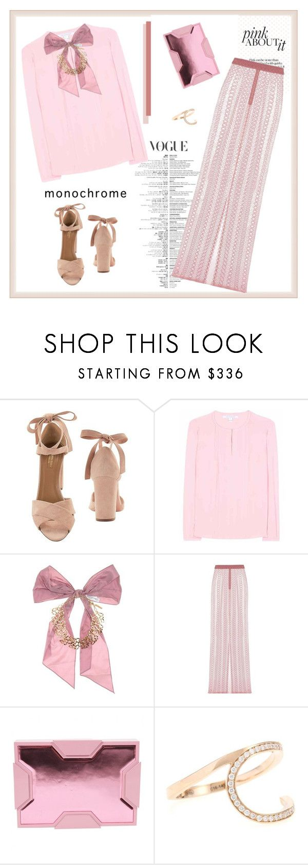 """""""Color Me Pretty: Head-to-Toe Pink♥♥♥"""" by marthalux ❤ liked on Polyvore featuring Aquazzura, Diane Von Furstenberg, Oscar de la Renta, Burberry, Lee Savage, Repossi, monochrome, Color, Pink and Spring2017"""