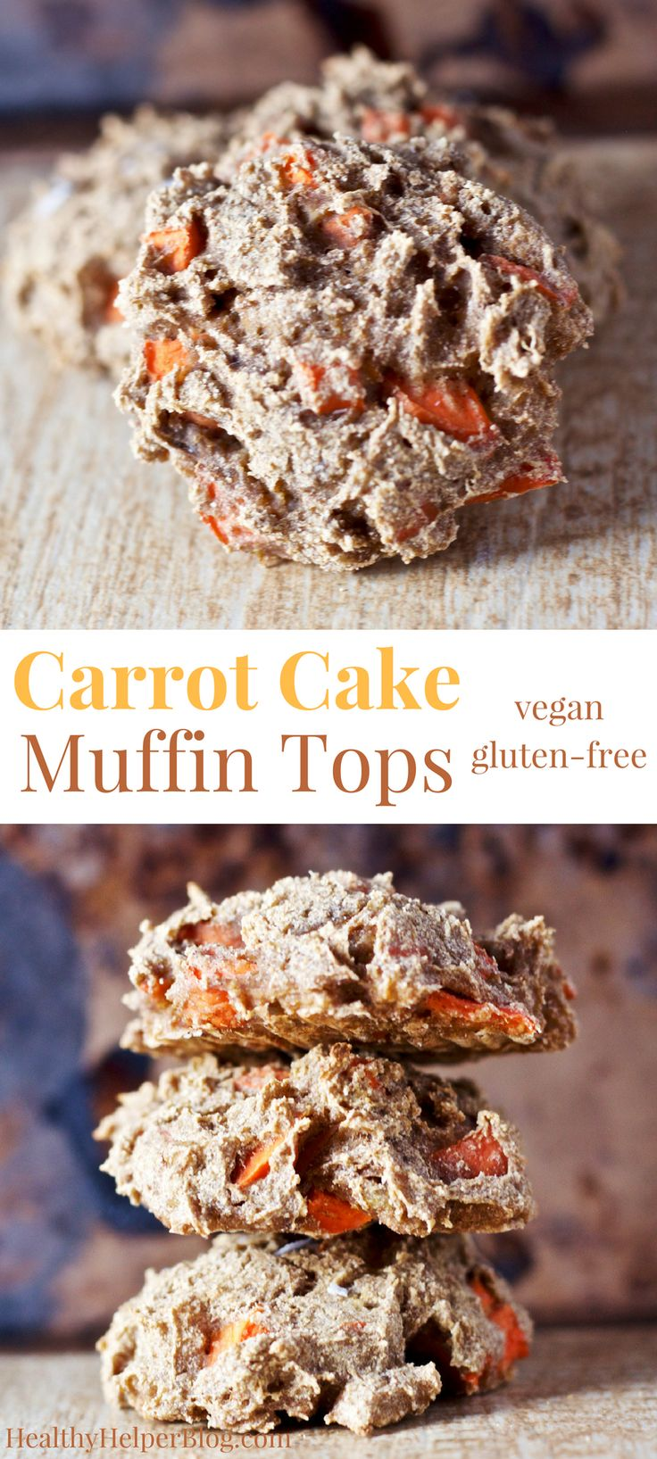 Carrot Cake Muffin Tops | Healthy Helper @Healthy_Helper Carrot cake in muffin top form! Vegan, gluten-free, and date-sweetened. These little treats are perfect for celebrating spring and are filled flavor!
