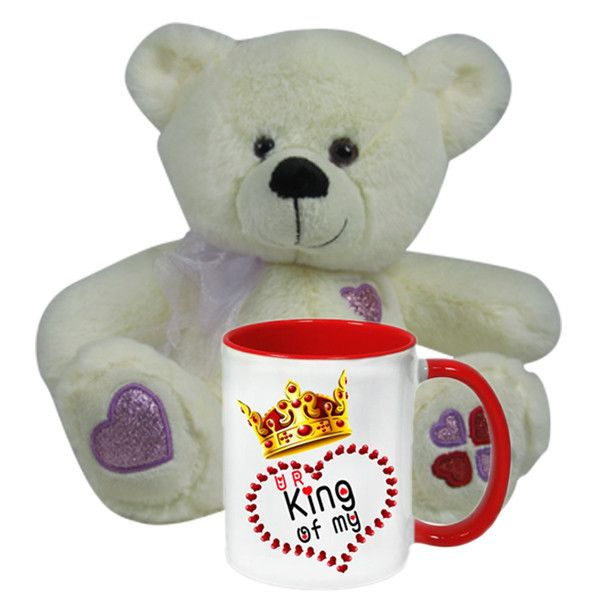 Propose Day Ideas (King Of Heart Mug With White #Teddy) You are king of my Heart - #MUG, Nuzzle up your sweetheart with a soft toy this time! Gift this cuddly teddy bear from Hallmark India and celebrate your Day in an adorable way. Product Size :Height : 23 cm X Length : 20 cm X Width : 10 cm. Rs. 898 : Shop Now : http://hallmarkcards.co.in/collections/valentines-hampers/products/personalised-valentine-day-gift-ideas-for-him