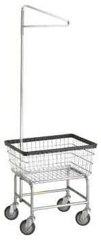 R&B Rolling Standard Laundry Cart/Chrome Basket P/N 100E91 Comml Laundry Basket w/Sngl Pole Rack on Wheels