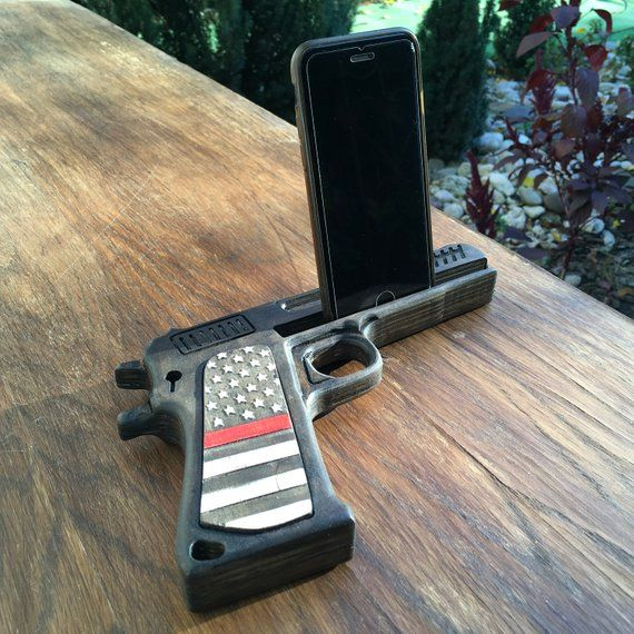 Christmas In July. Boyfriend birthday gift. Charging station iPhone, pistol.  Police officer gifts