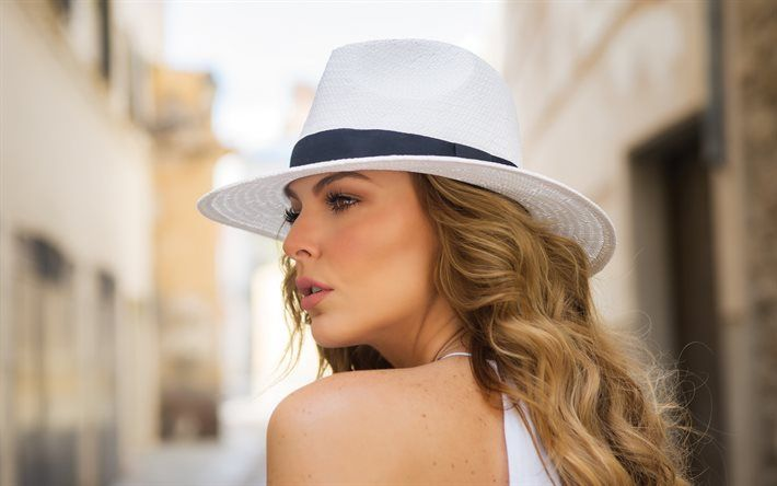 Marjorie de Sousa, actress, girl in hat, blonde, beautiful girl
