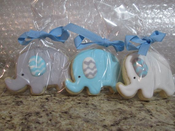 These are cute little elephant cookies perfect for a baby shower or birthday party. The colors can be customized to fit your theme. Each cookie