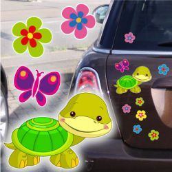 Turtle Schildkröte Blumen Schmetterling Autoaufkleber Auto Aufkleber