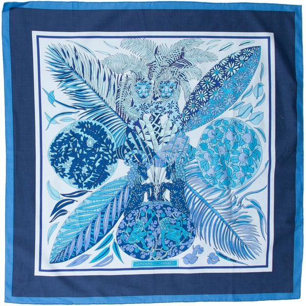 Pre-owned Hermes Gardiens Des Arbres Scarf (€200) ❤ liked on Polyvore featuring accessories, scarves, blue, blue shawl, blue scarves, hermes scarves, cotton scarves and hermes shawl