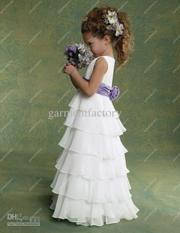 Wholesale Cheap Junior Flower Girls Dresses Chiffon White and Purple Many Layers Floor length Kids Evening Gowns Flowergirl Dresses Wedding, Free shipping, $62.83/Piece | DHgate Mobile