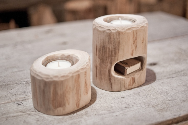 Wooden candleholder with space for matches or another tealight