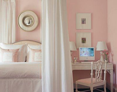 I love this bedside table/desk idea... perfect for a guest bedroom/office spaceGirls Bedrooms, Soft Pink, Pale Pink, Girls Room, White Bedrooms, Pink Wall, Painting Colors, Big Girls, Pink Bedrooms