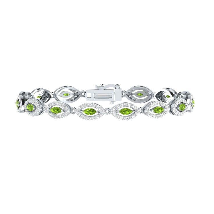 "4.50 Carat Green Peridot W/ White Sapphire Sterling Silver Tennis Bracelet 7"" #braceletrealgold #Tennis"