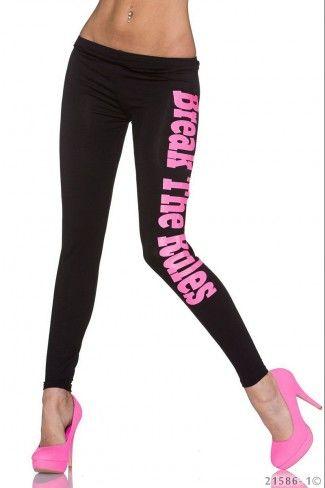 Βισκόζ leggings με print - Μαύρο Νέον Ροζ