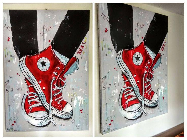 Άλλη μια προσπάθεια, στη ζωγραφική αυτή τη φορά. Υλικά : απλά πλαστικά χρώματα για τοίχους επάνω σε μουσαμά. Διαστάσεις 100cm x 70cm