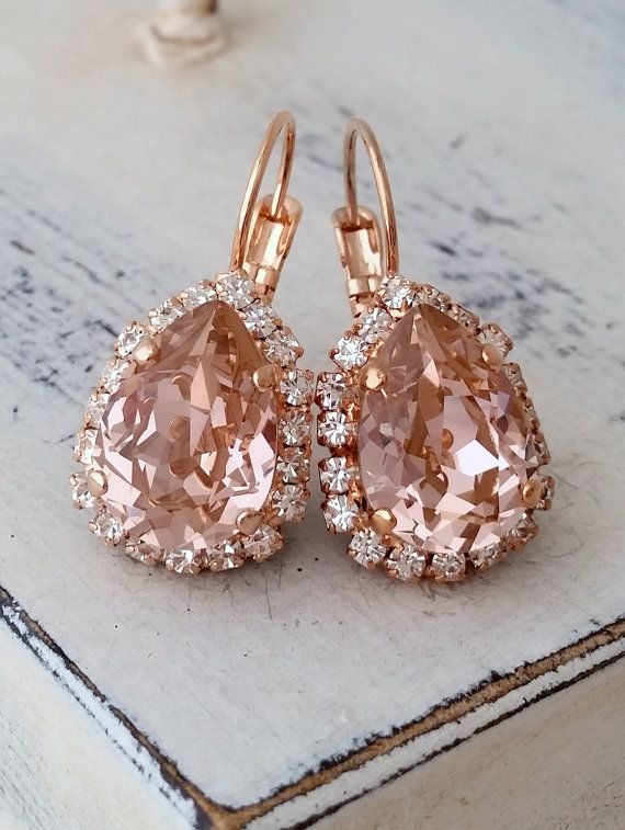 Blush Pink crystal teardrop earring Rose gold by EldorTinaJewelry