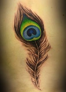 Peacock feather tattoo outline