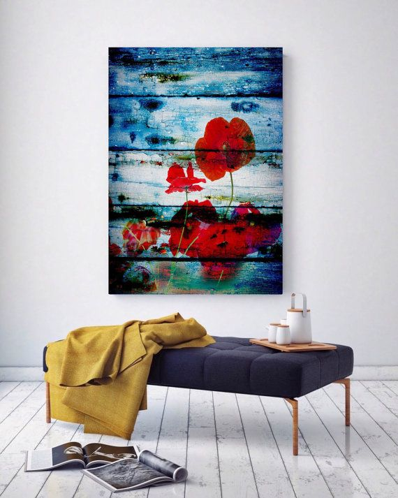 Floral painting blue red abstract art wall decor abstract colorful contemporary canvas art print up to 72 by irena orlov