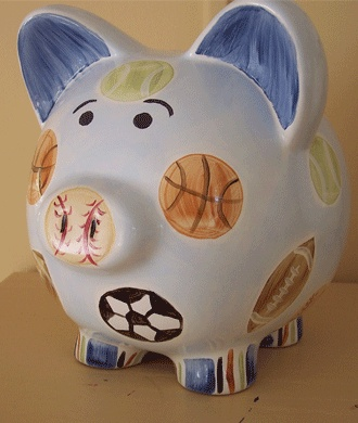 Sporty Piggy Bank. Great Keepsake!