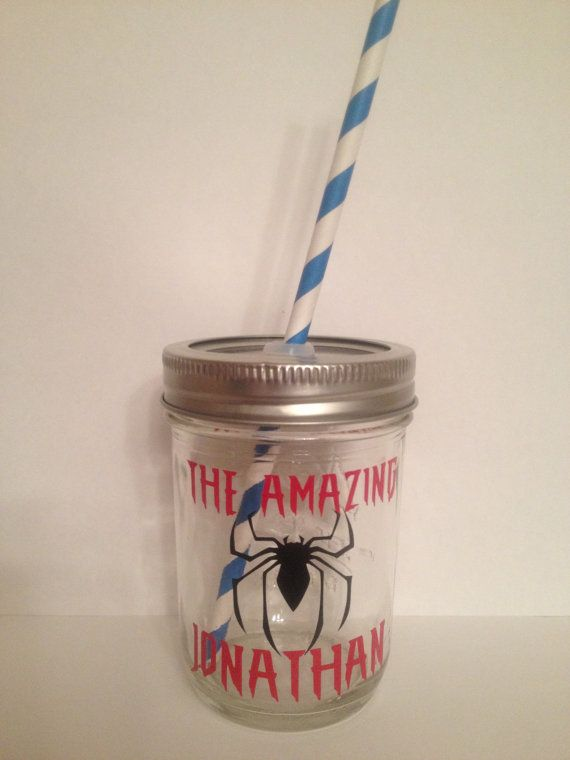 Spiderman Kids Mason Jar Cup Personalized Kids by KissMasonJars, $9.00