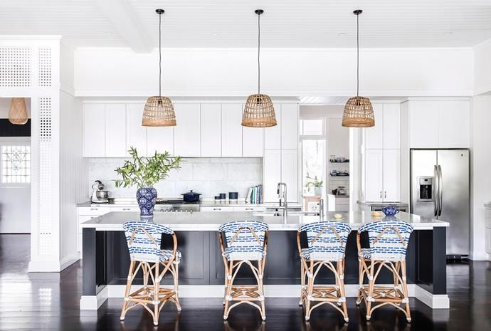 The focal point of the cooking zone is the Carrara marble-topped island bench. Photo: Maree Homer | Styling: Kate Nixon | Story: Australian House & Garden