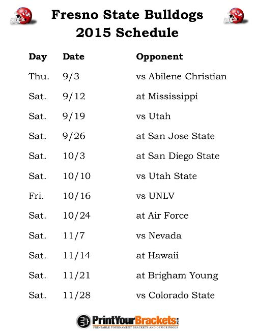 Printable Fresno State Bulldogs Football Schedule 2015