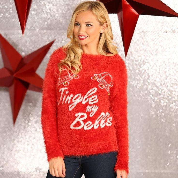Foute kerstprint truien Tingle my Bells  Rode dames kersttrui Tingle my Bells. Een uitdagende feestelijke slogan en de decoratieve 3D-bellen zorgen ervoor dat u niet onopgemerkt blijft in deze kerstperiode. De kersttrui is gemaakt van 100% acryl.  EUR 37.95  Meer informatie