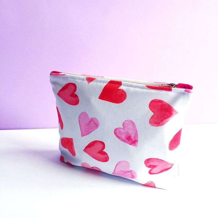 Handmade heart print clutch bag #fantasticcraftyfox