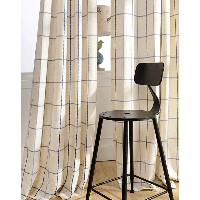 Chic Cotton/Linen Blue/Beige Plaid Curtains