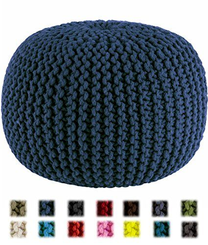 Cotton Craft - Hand Knitted Cable Style Dori Pouf - Blue - Floor Ottoman - 100% Cotton Braid Cord - Handmade & Hand stitched - Truly one of a kind seating - 20 Dia x 14 High Cotton Craft http://smile.amazon.com/dp/B00F39EMSO/ref=cm_sw_r_pi_dp_dtHFvb0Y7HQ2F
