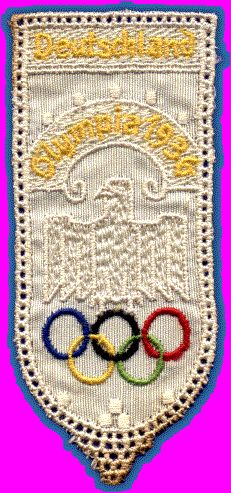 1936 BERLIN OLYMPICS             woven and embroidered silk bookmark, 103 mm