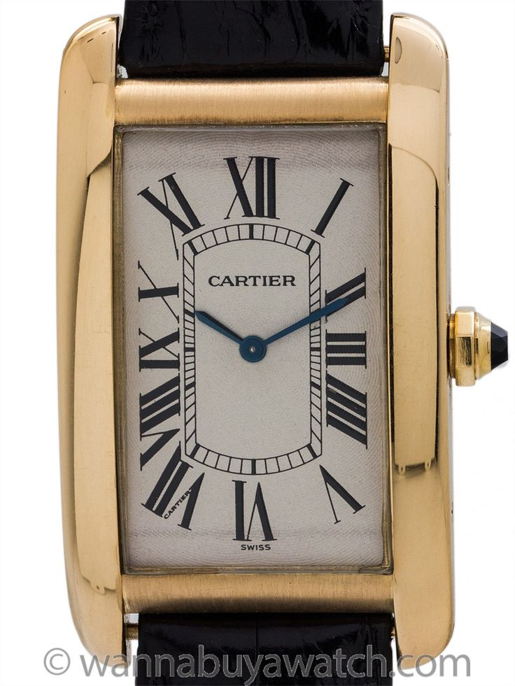 Cartier Tank American XL 18K YG circa 1990's - Man's large size Cartier Tank American (Americaine) 18K YG circa 1990's. Featuring oversize 28 x 46mm case with wide polished bezel, curved sapphire crystal, original antique white dial with classic oversize Roman numerals, and powered by 17 jewel manual wind movement with Cartier cabachon sapphire crown. This is the classic man's model, manual wind, no sub seconds, or sweep seconds, or date; just a rich and classy oversize look and stye. This…