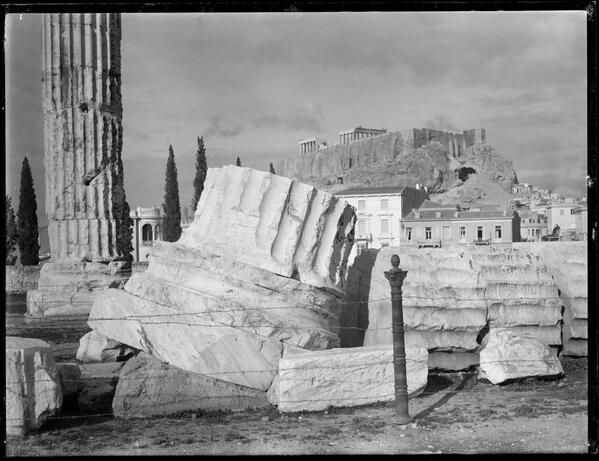 Wonderful pic. Looking up to #Parthenon from Temple of Olympian Zeus #Athens 1894 #WoodhouseArchive @NicholsonMuseum via Michael Turner