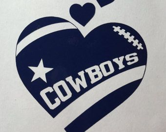 Dallas Cowboys Football Heart Vinyl Decal by GetBlastedDesigns