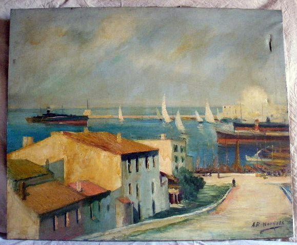 Oil on canvas depicting a PORT LANDSCAPE, signed by A.P. Horvayk from the middle of the last 20th century. Without frame. Measurements 73x60 cm. There is a tear in the upper right side of 4 cm