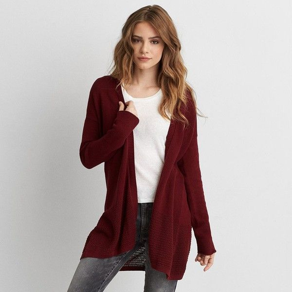AEO Open Stitch Cardigan ($45) ❤ liked on Polyvore featuring tops, cardigans, maroon, cardigan top, maroon top, maroon cardigan, open front knit cardigan and open knit top