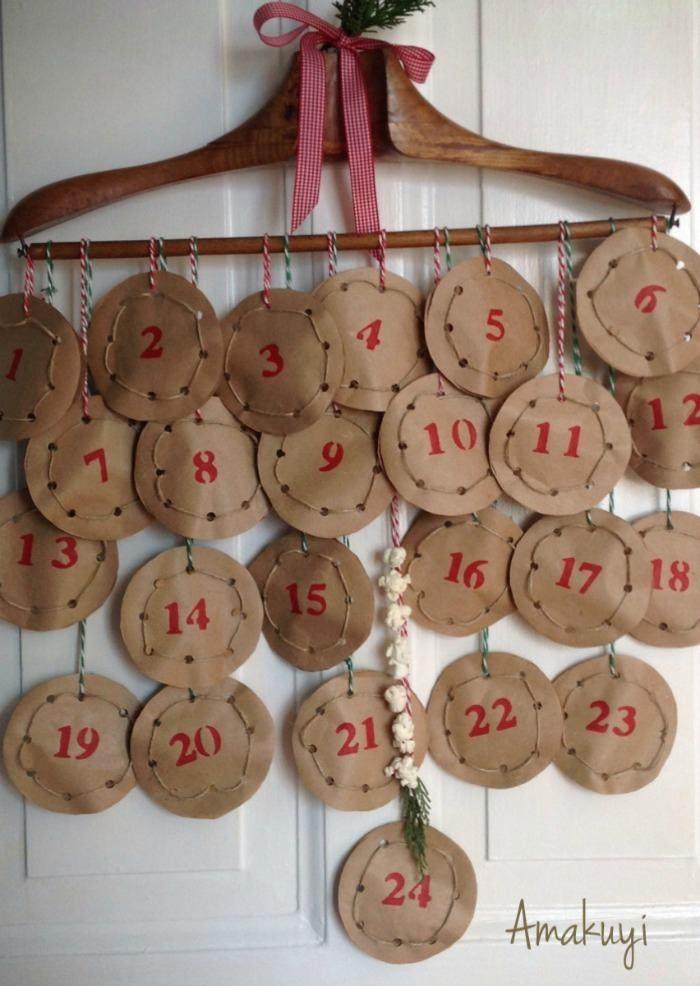 calendario colgado percha : via MIBLOG #calendario de adviento #unapizcadehogar
