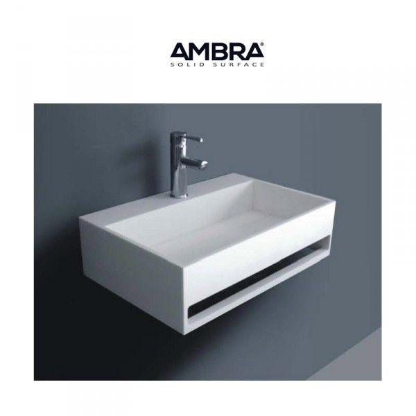Vasque rectangulaire suspendue en solid surface - Ambra