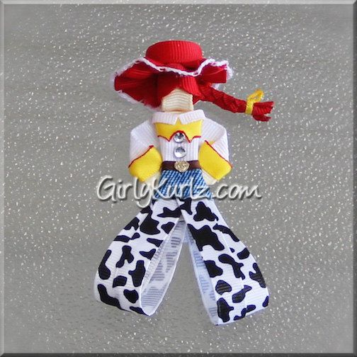 Jessie Headband Toy Story Ribbon Sculpture Hair Clip by GirlyKurlz