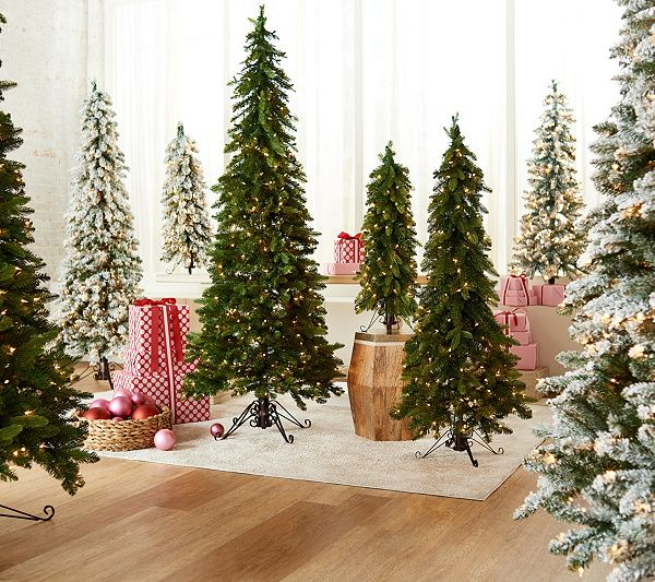 Bethlehem Lights Green Or Flocked Slim Downswept Decorator Tree Qvc Com Bethlehem Lights Slim Christmas Tree Lights