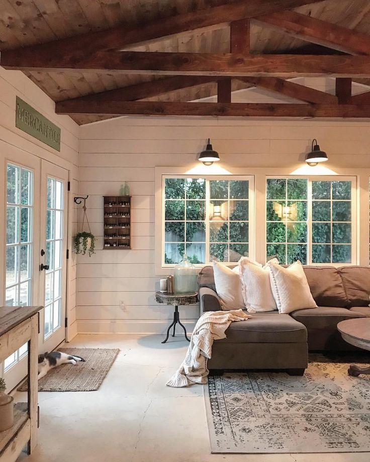 Shiplap walls, wood-clad ceilings, and an abundanc…