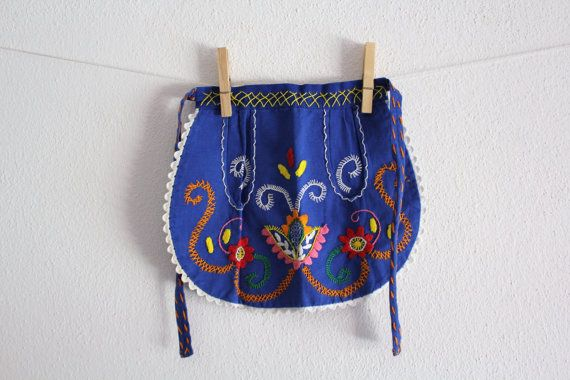 Vintage Kids Apron Folk Portugal with Pockets by CakeNumber9, $35.00