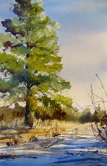 The Ponderosa by Sandy Strohschein Watercolor ~ 22 x 15